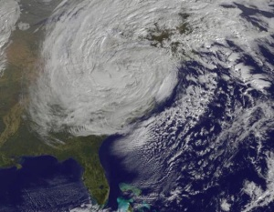 Satellite image of Superstorm Sandy as it approaches the Northeastern US.