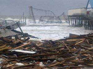 The boardwalk/amusement park in Seaside Heights, NJ after Superstorm Sandy.
