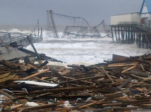 The boardwalk/amusement park in Seaside Heights, NJ after Superstorm Sandy.