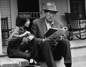"""Atticus and his daughter Jean Louise (aka """"Scout"""")"""